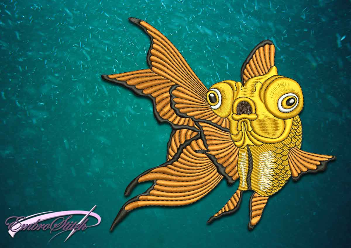 The superior quality embroidery design Serious goldfish