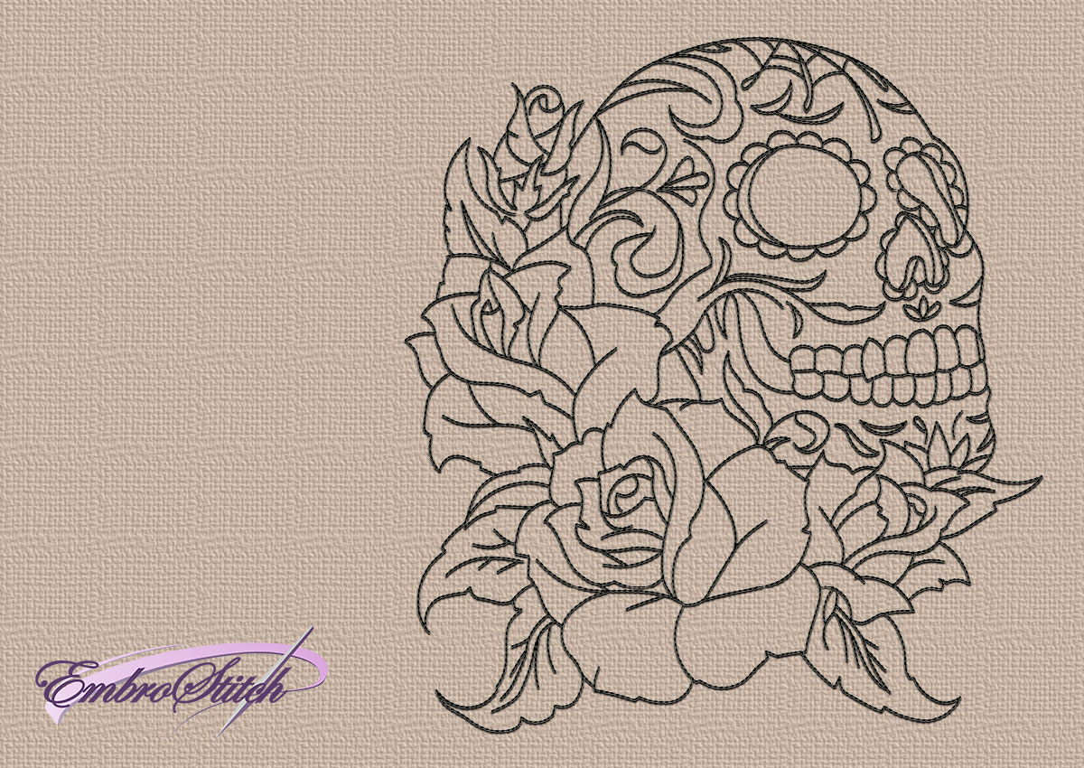 Skull and flowers embroidery 6 in