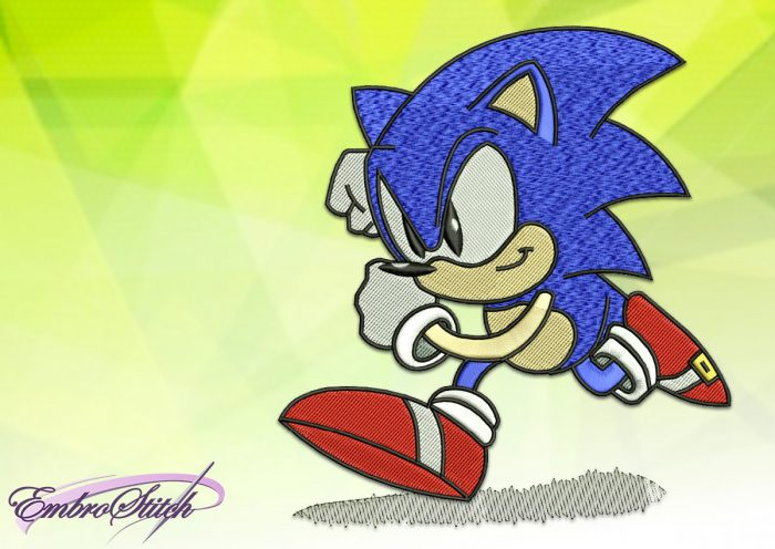 The embroidery design Sonic The Hedgehog is simple for embroidery
