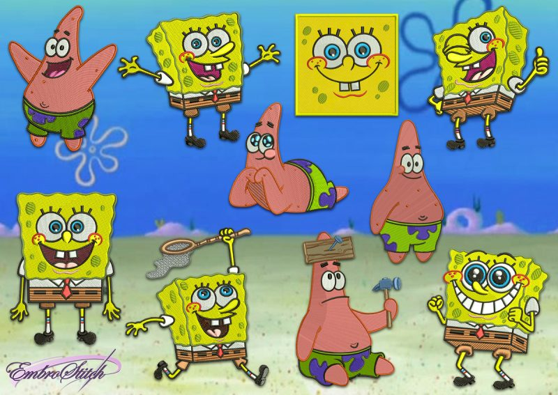 The pack of embroidery designs SpongeBob SquarePants, that have won millions of children's hearts