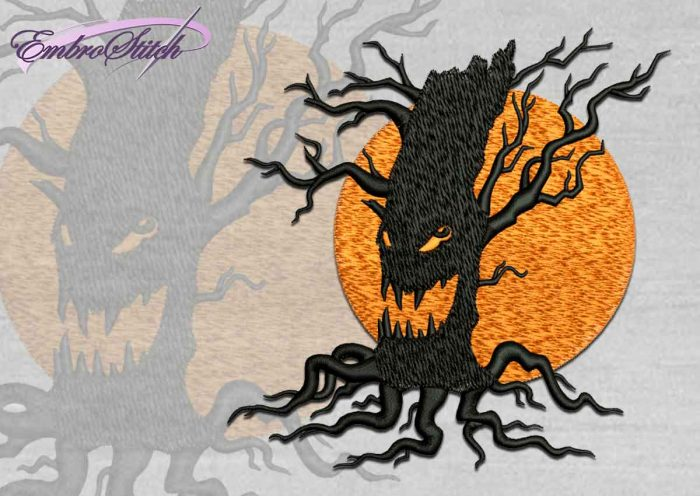 The high quality Halloween embroidery design Spooky tree