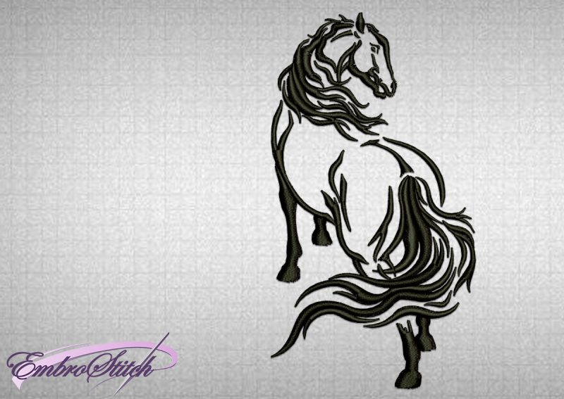 The embroidery design Standing Horse was tasted in EmbroStich Studio