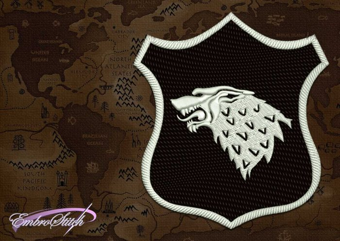 The high quality embroidery design Patch Applique Stark shield from Game of Thrones provides in 8 embroidery formats.