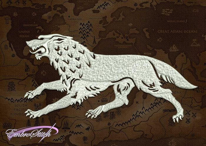 The embroidery design Running Stark wolf from Game of Thrones was created in 8 embroidery formats.
