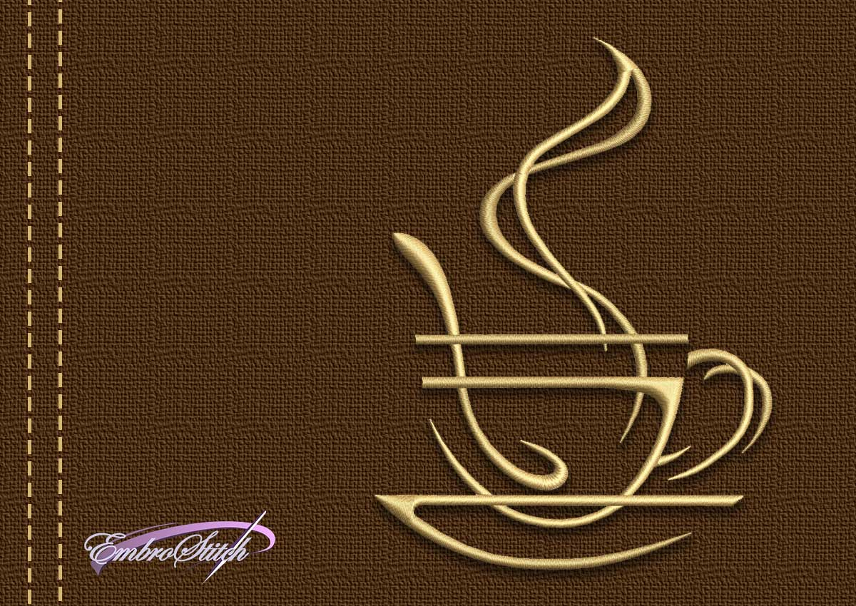 The embroidery design Steaming cup