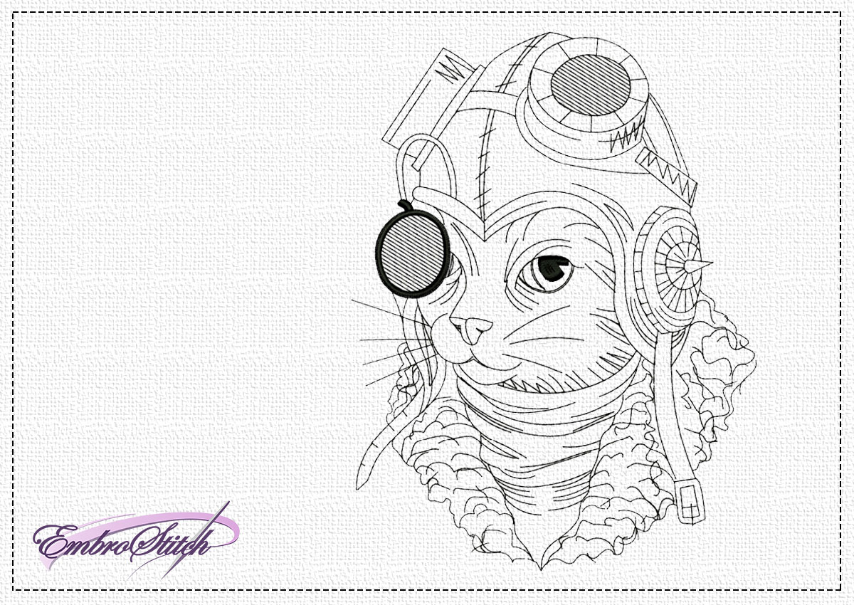 The embroidery design Steampunk cat