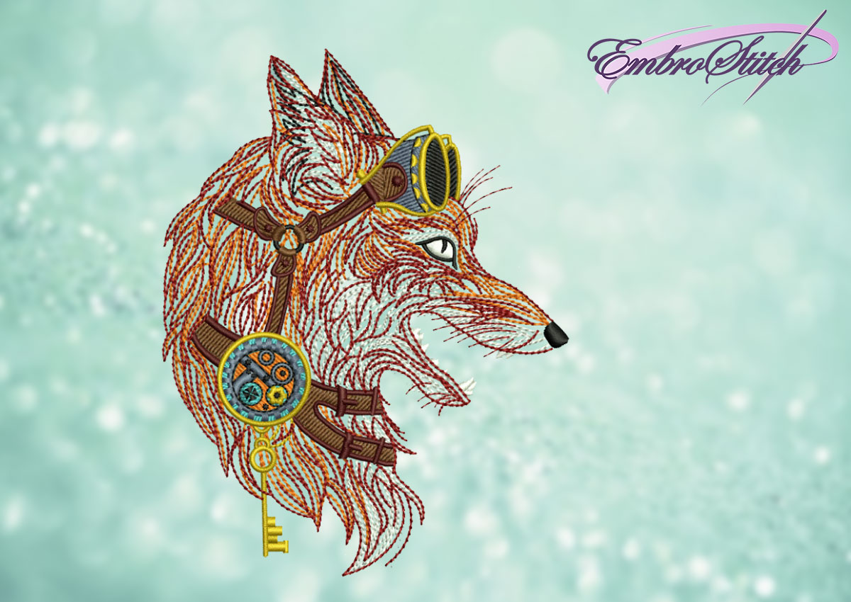 The embroidery design Steampunk fox in goggles
