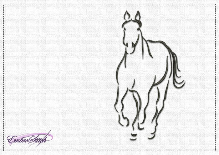 The embroidery design Strong Horse depicts a horse running towards the viewer.