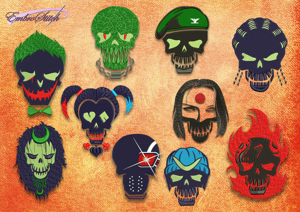 The pack of embroidery designs Suicide Squad