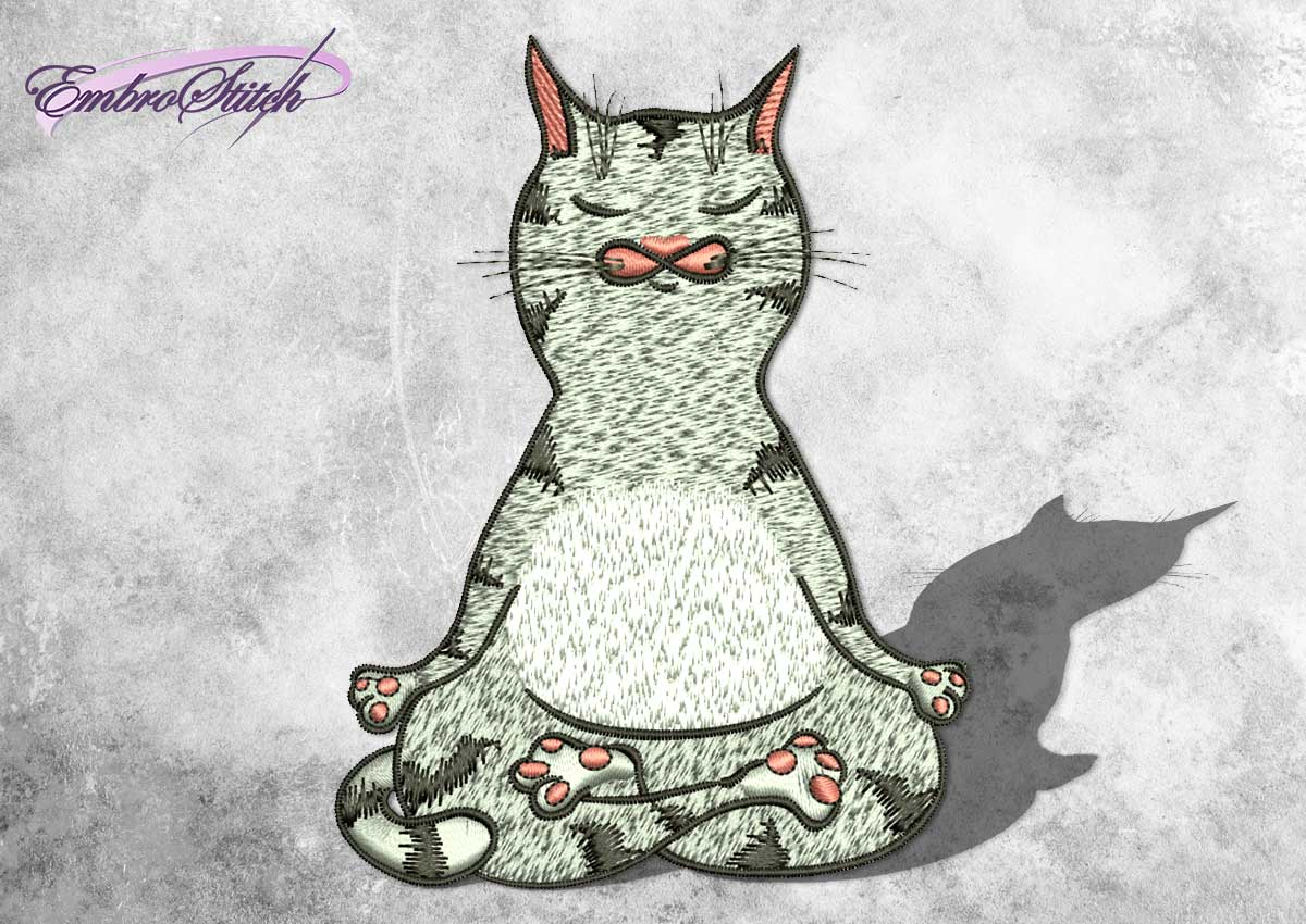 The embroidery design Sukhasana cat depicts yoga easy pose.