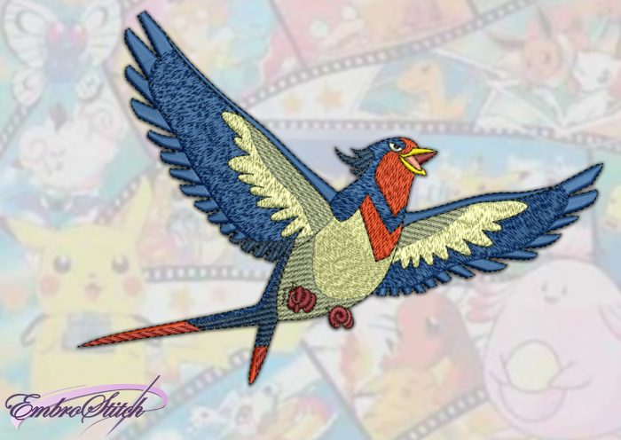 The embroidery design Swellow Pokemon, that flies high above our heads