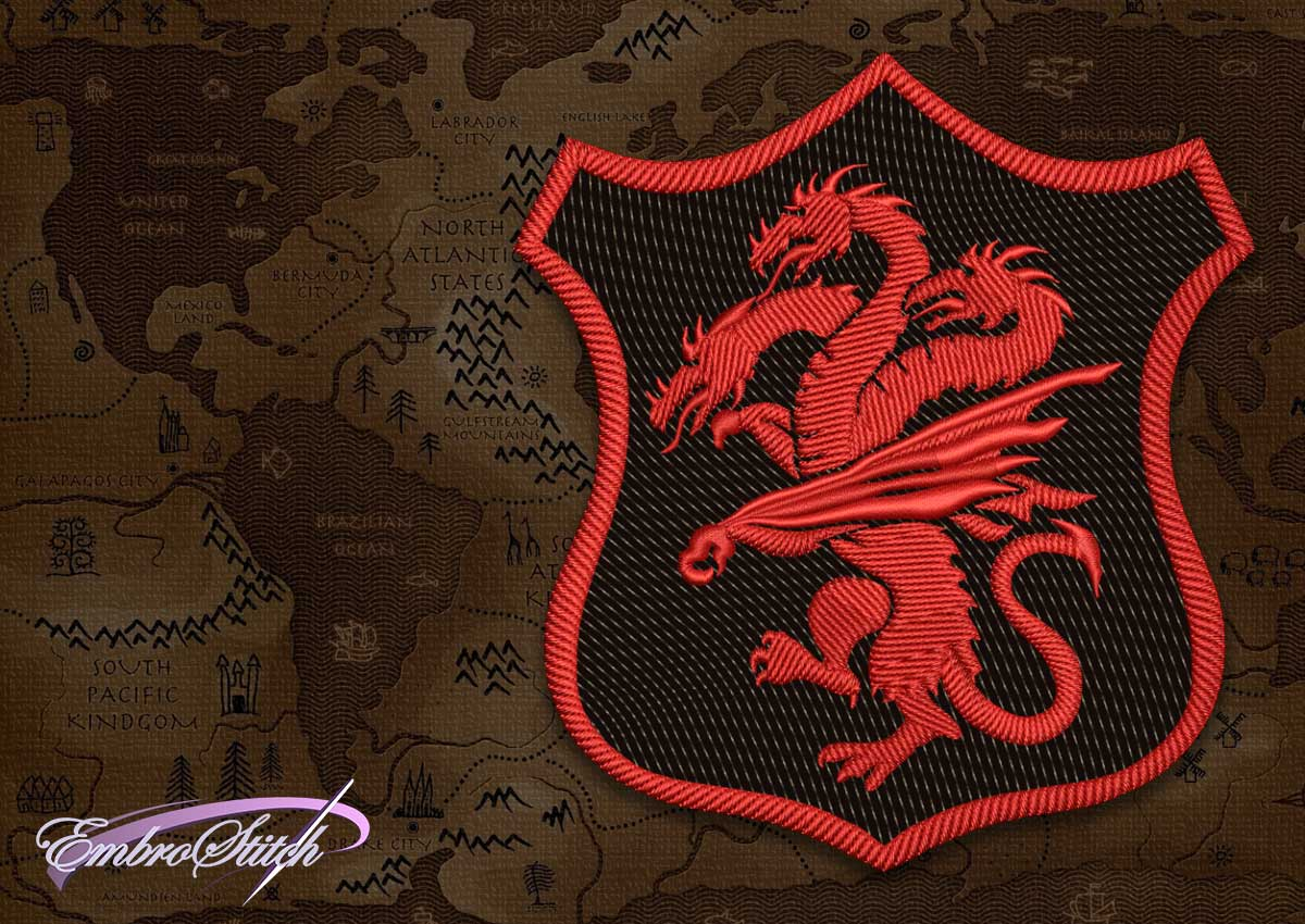 The embroidery design Patch Applique Targaryen shield  from Game of Thrones was created in 2 sizes for implementation of different ideas.