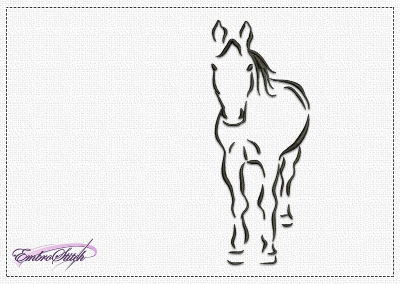 The embroidery design Thoughtful Horse depicts silhouette of the horse and was made using sating stitching elements.