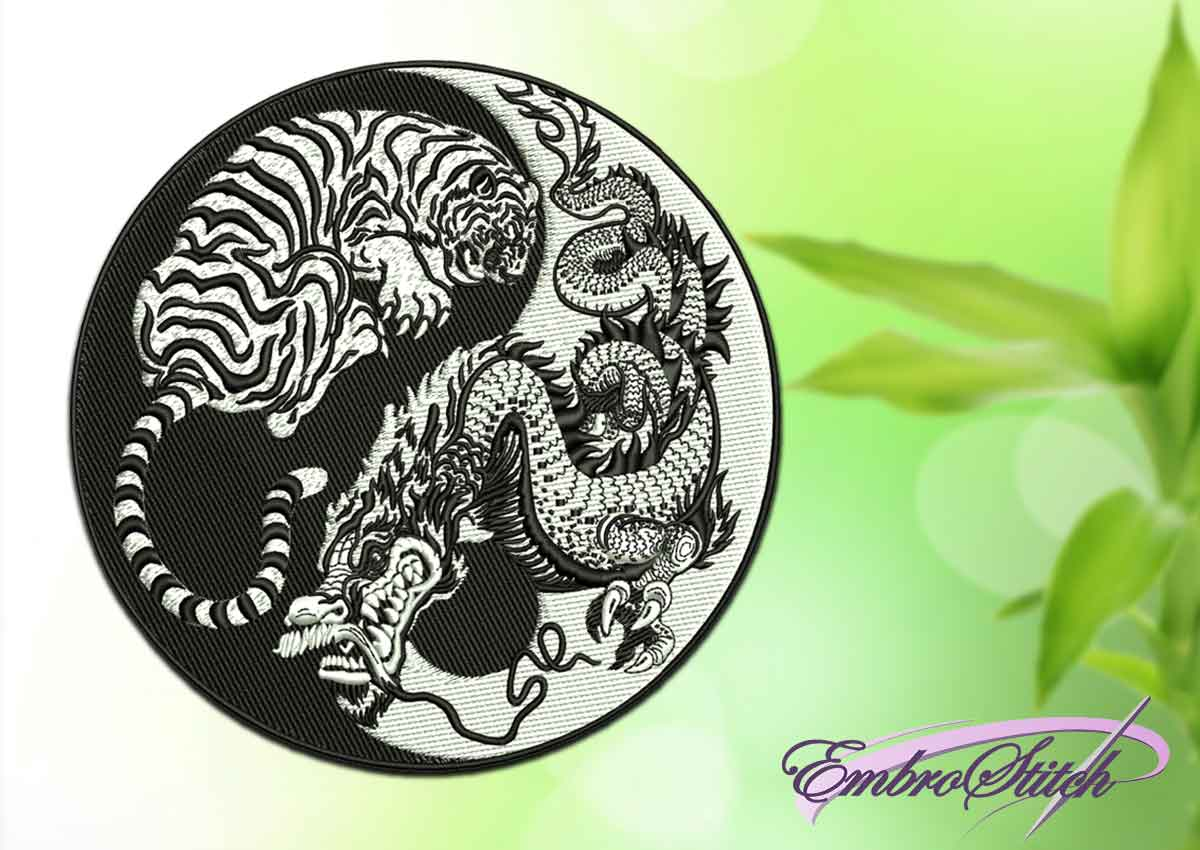 The embroidery design depicts Tiger and Dragon in Yin Yang symbol (black and white).