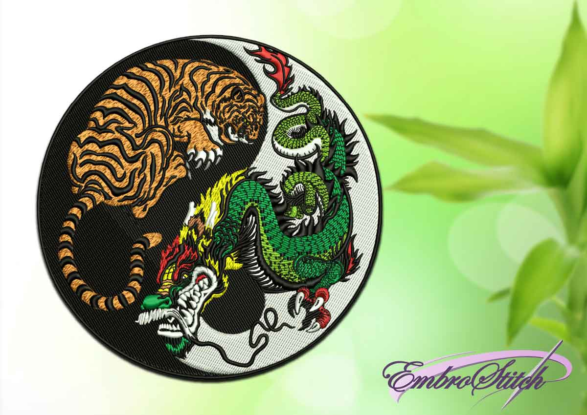 The embroidery design depicts Tiger and Dragon in Yin Yang symbol.