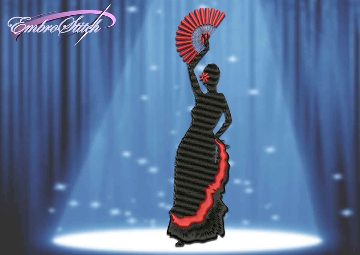 The embroidery design Traditional Flamenco with fan