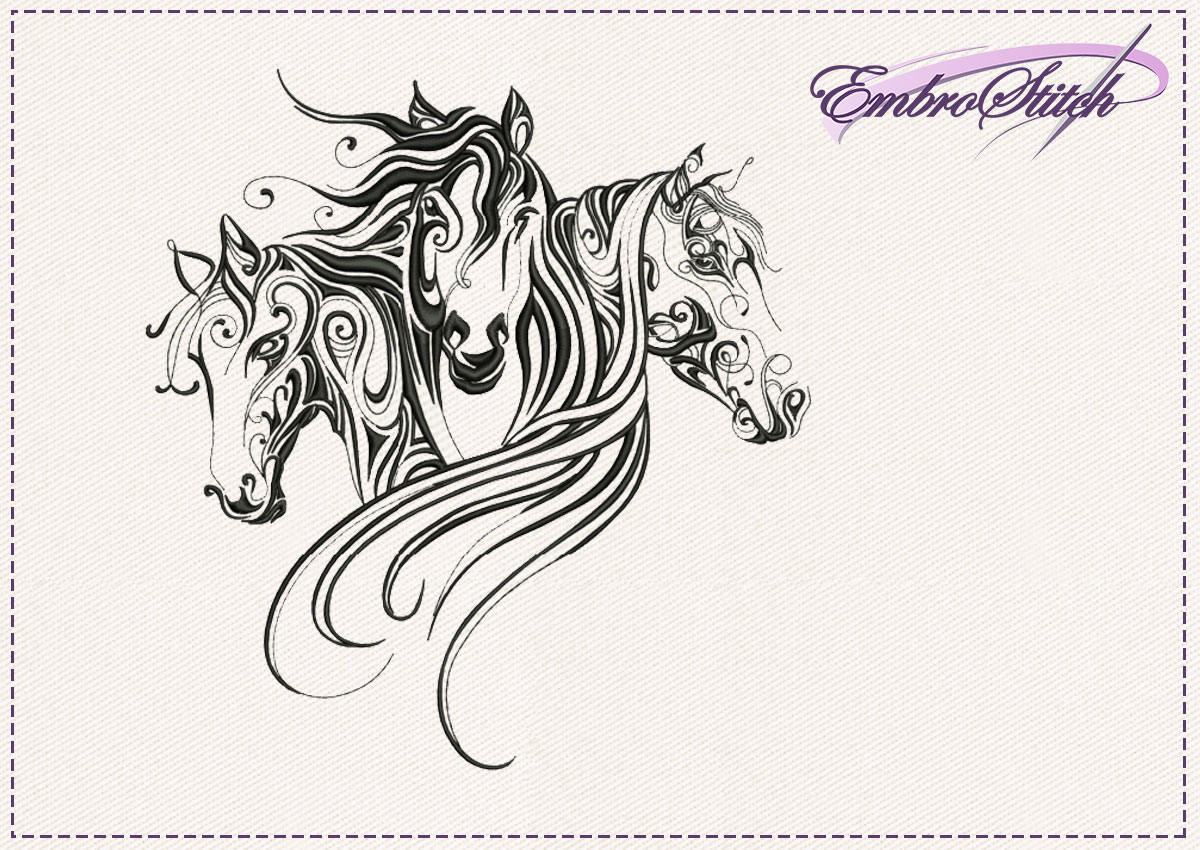 The embroidery design Trio of horses