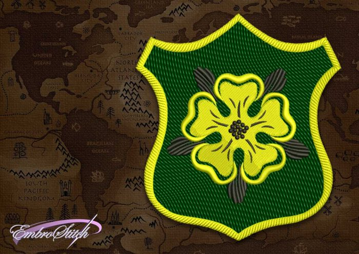 The embroidery design Patch Applique Tyrell shield  from Game of Thrones contains in 8 embroidery formats.