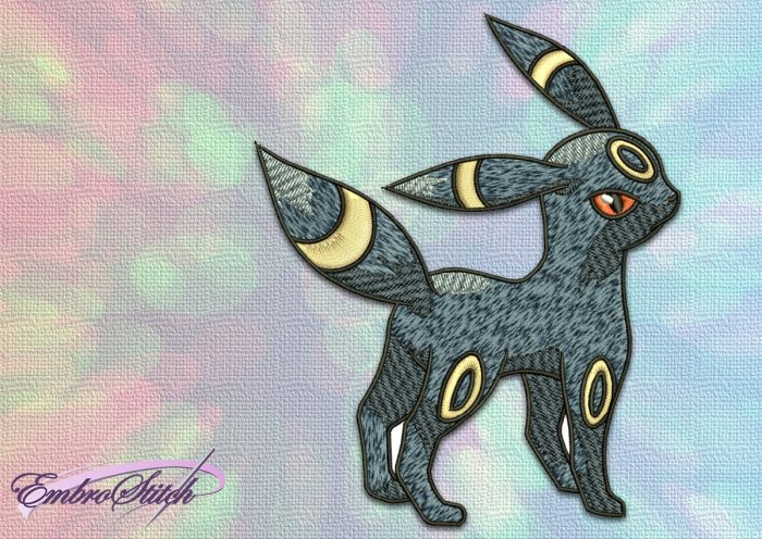 The embroidery design Umbreon Pokemon was professionally digitized by EmbroStich Team