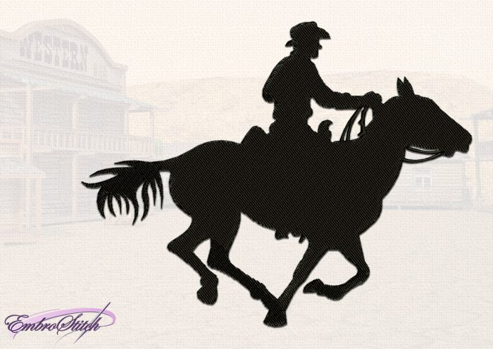 The embroidery design Unhurried Cowboy consists of a large filling element and several thin lines