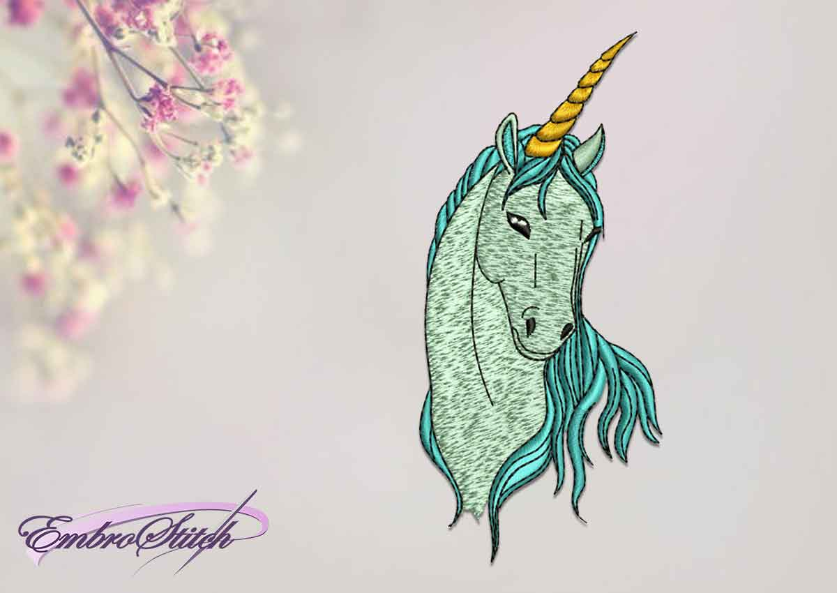 The qualitative embroidery design Unicorn with long mane