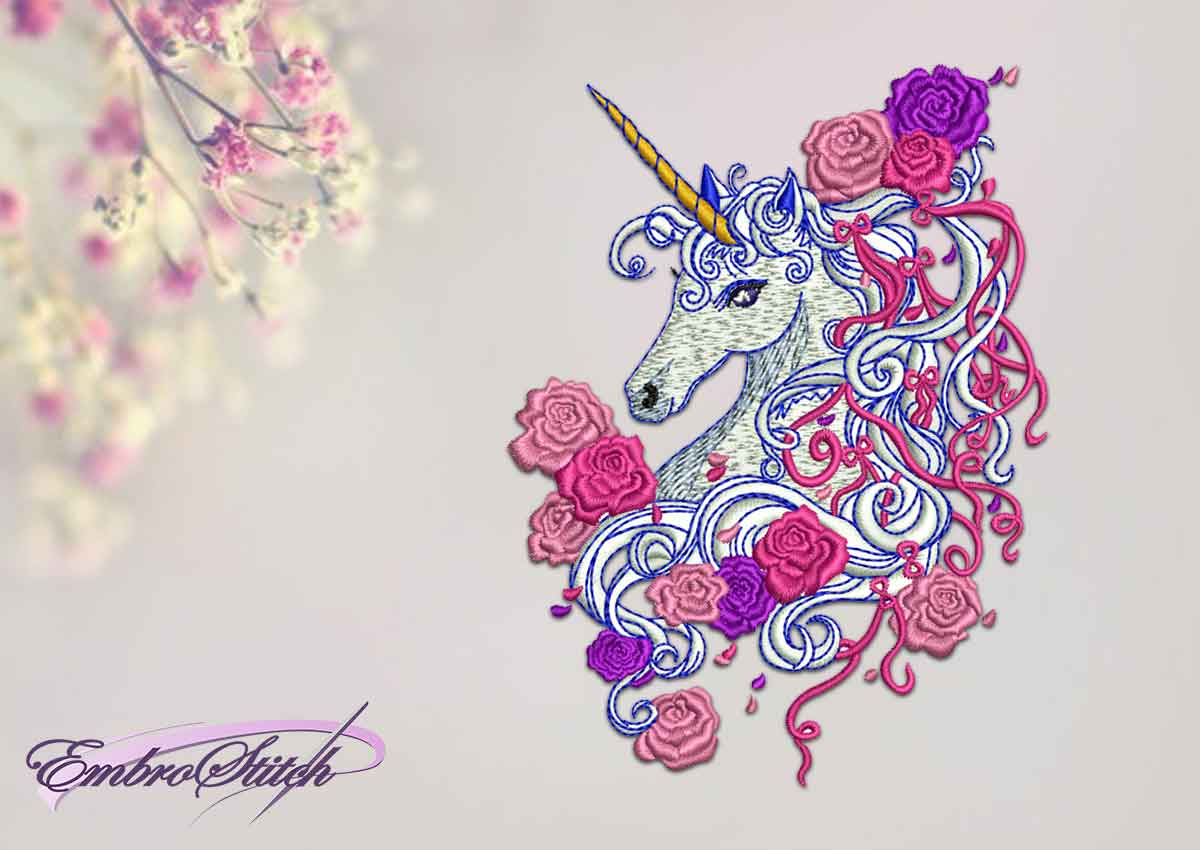 The qualitative embroidery design Unicorn with roses