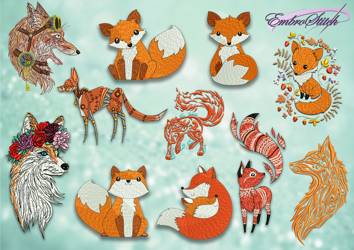The pack of embroidery design Various of foxes