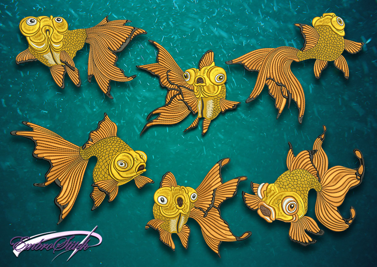 The high quality embroidery design's pack Various of goldfish