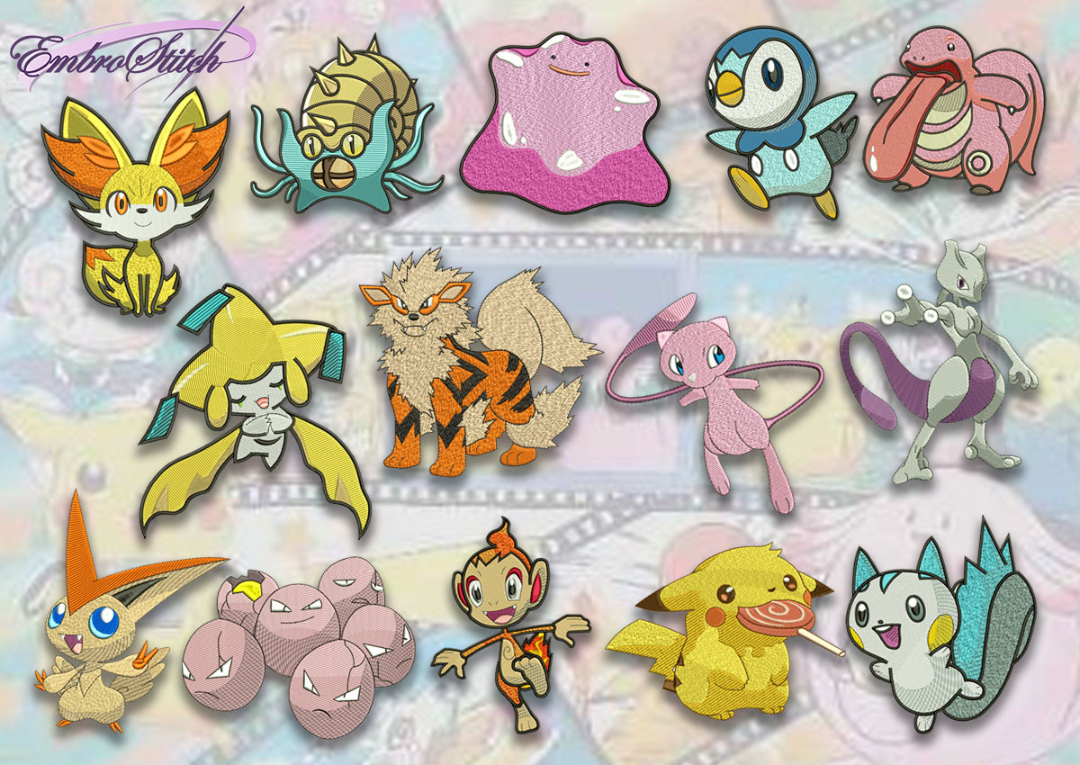 The pack of embroidery designs Various pokemons