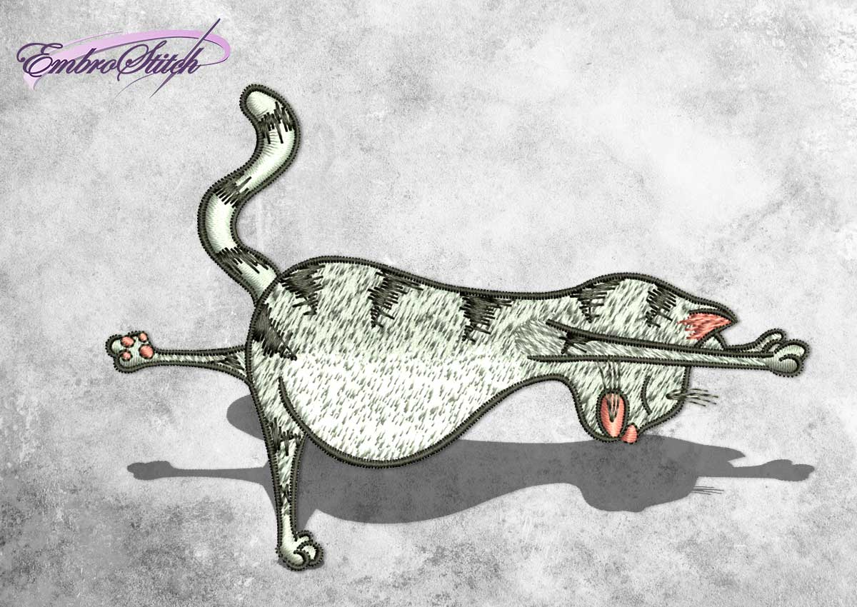 The embroidery design Virabhadrasana cat depicts first step of warrior yoga pose.