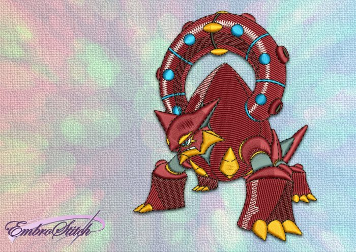 The embroidery design Volcanion Pokemon will become great addition to the style