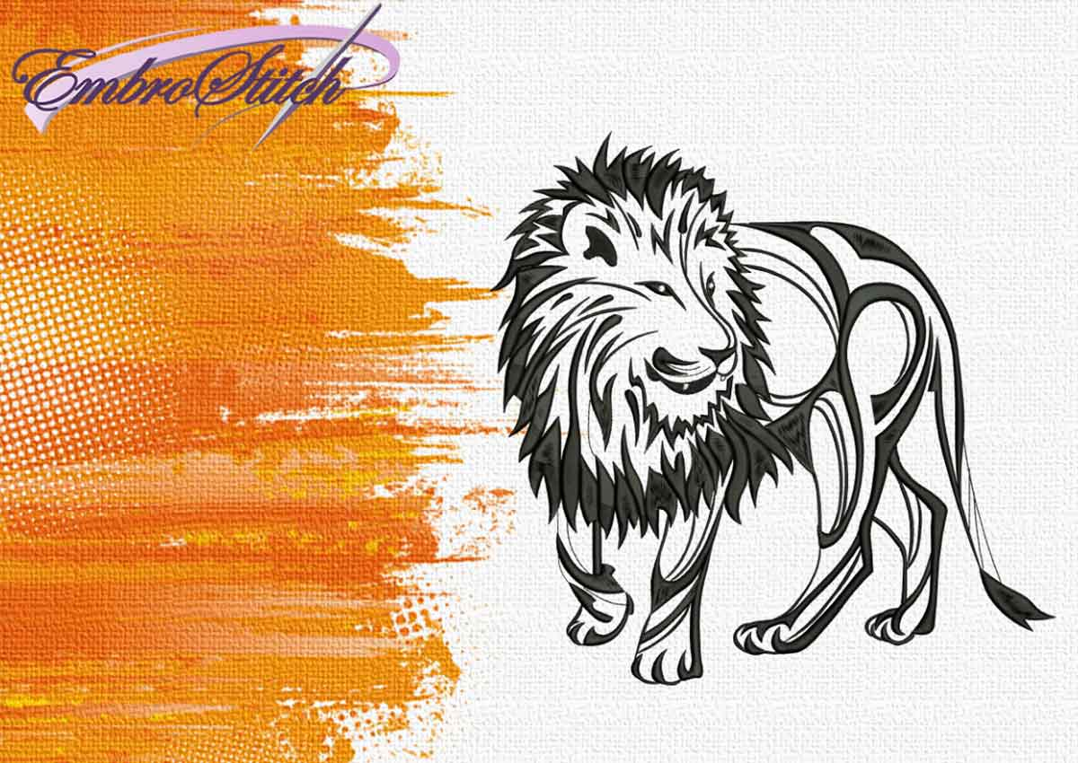 The embroidery design Walking Lion by EmbroStich