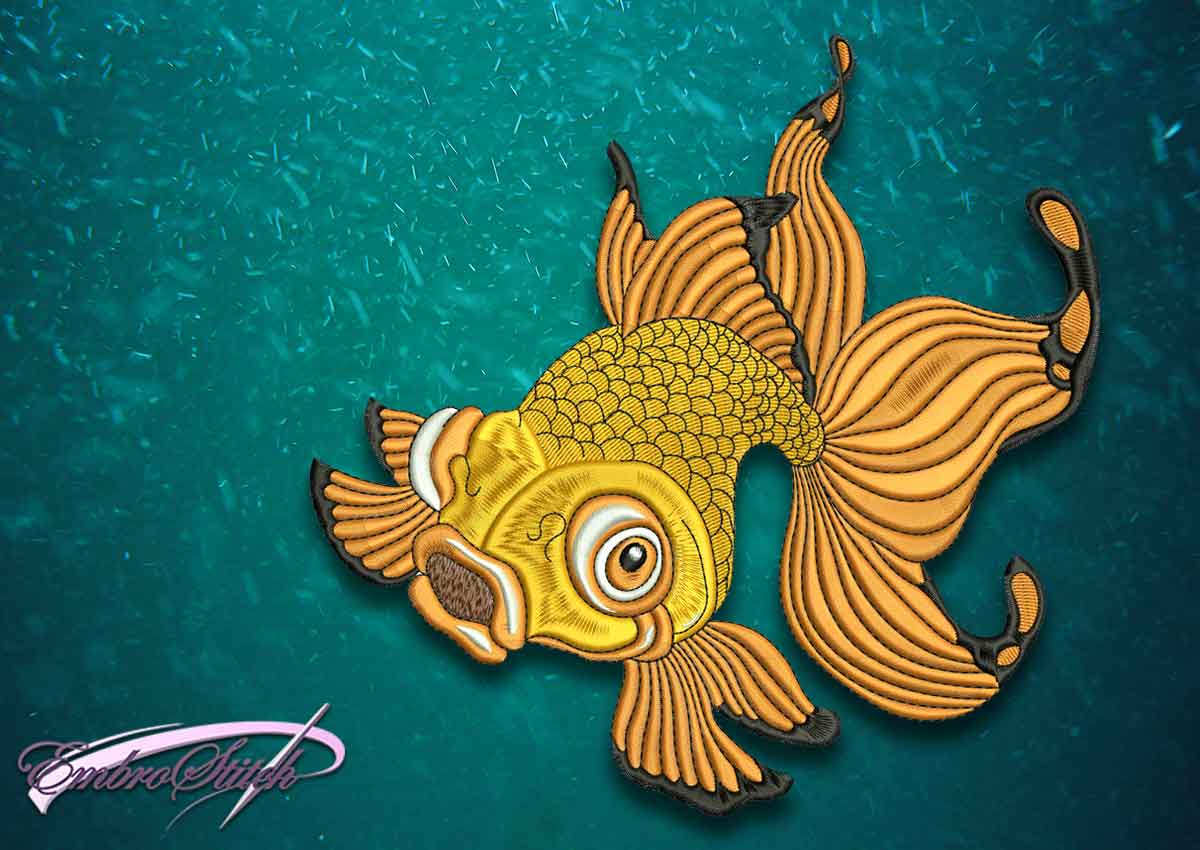 The superior quality embroidery design Wandering goldfish