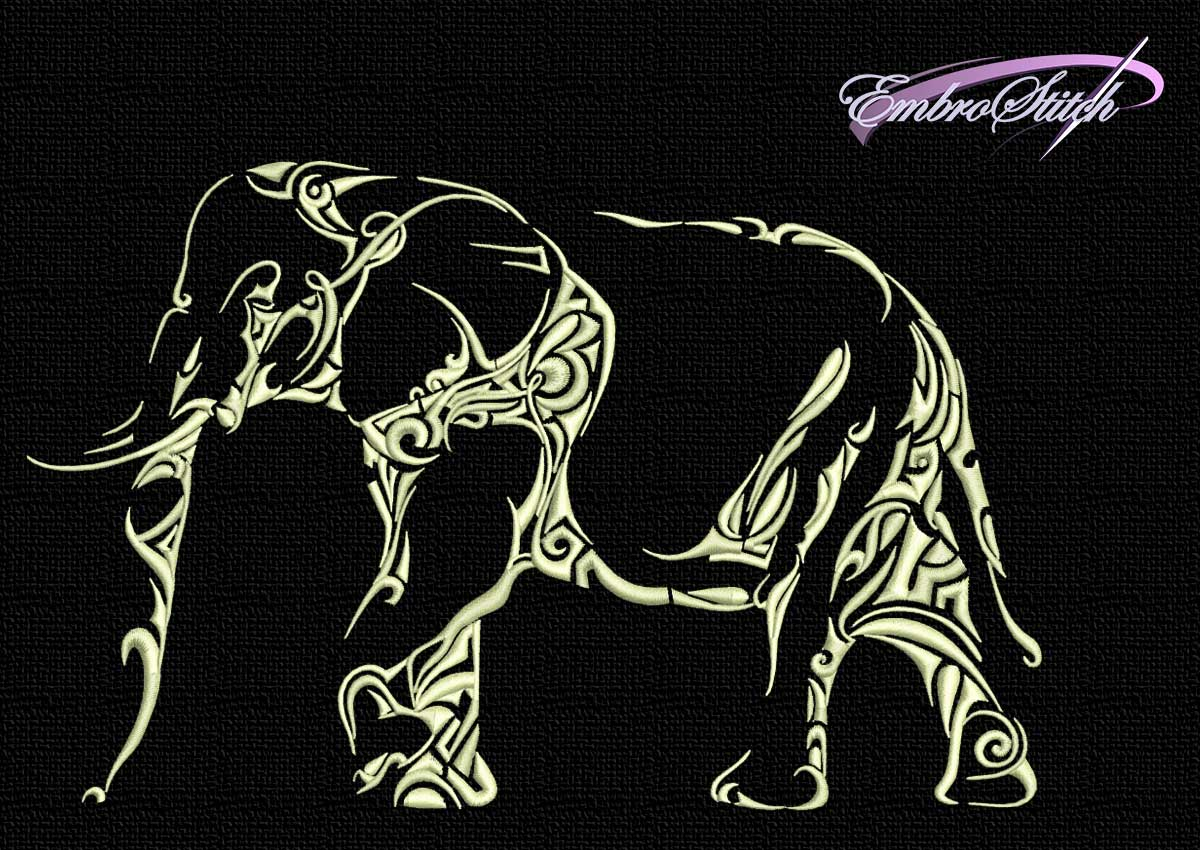 The embroidery design Monochrome thoughtful elephant