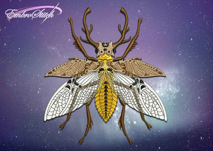 The embroidery design Winged stag beetle