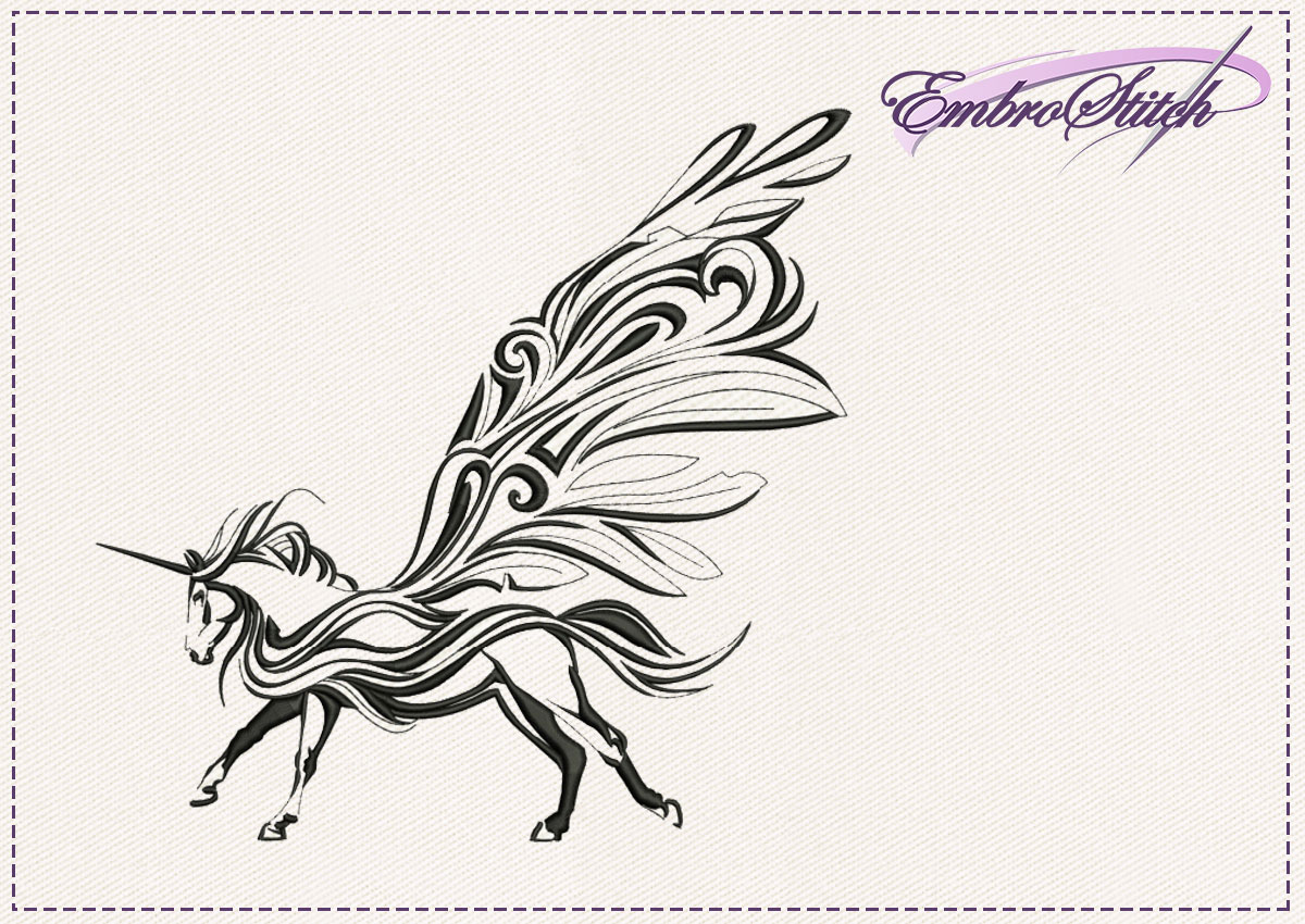 The embroidery design Winged Unicorn