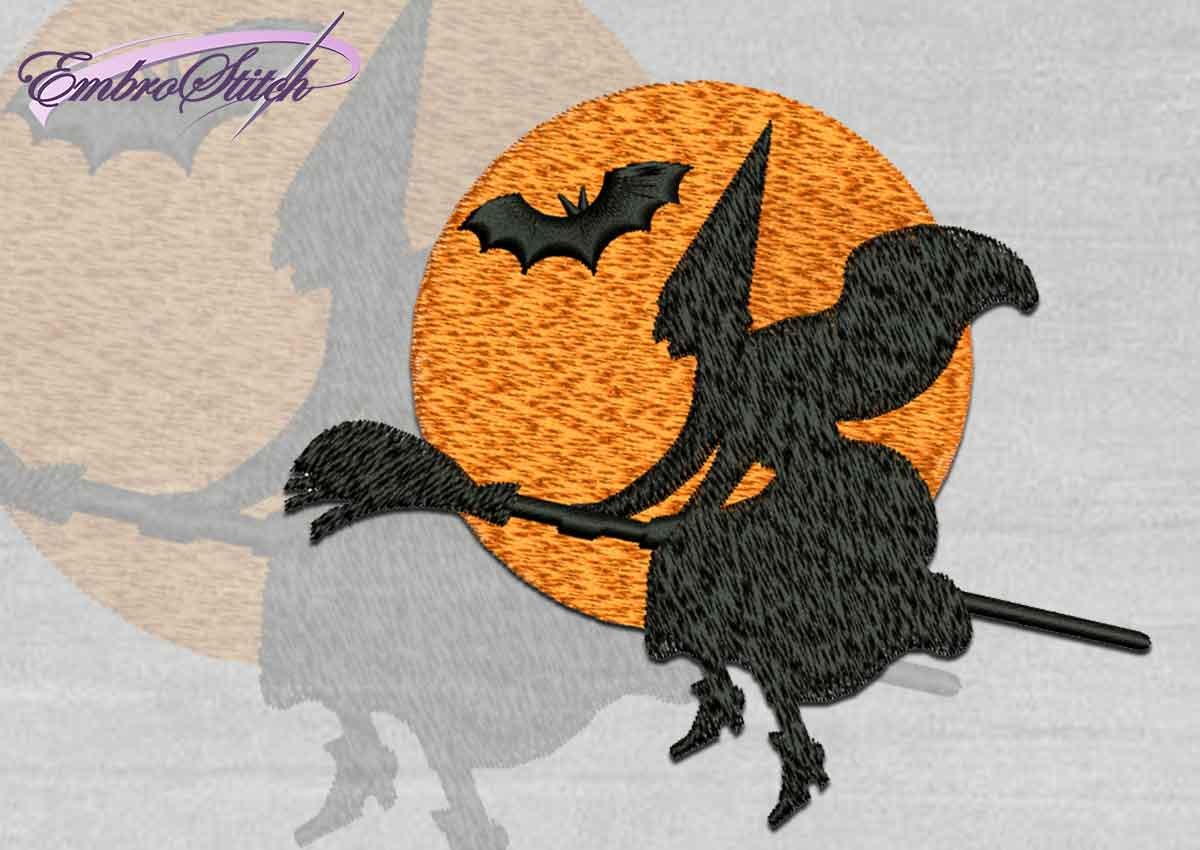 The high quality Halloween embroidery design Witch on broom