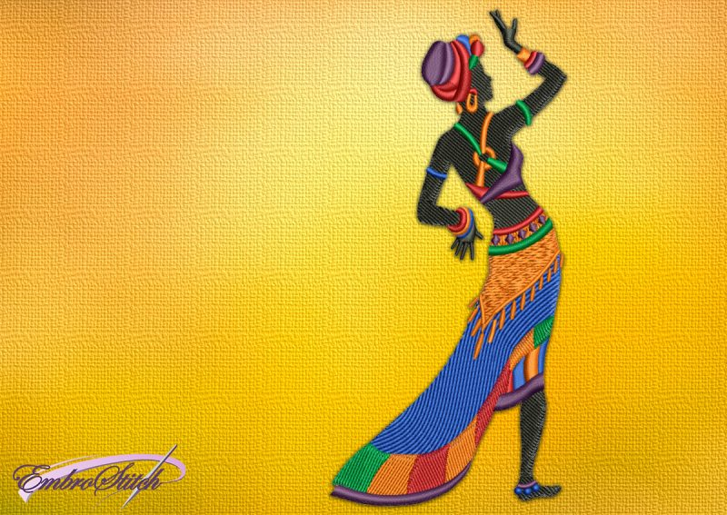 The embroidery design Woman in long skirt provides in 3 sizes
