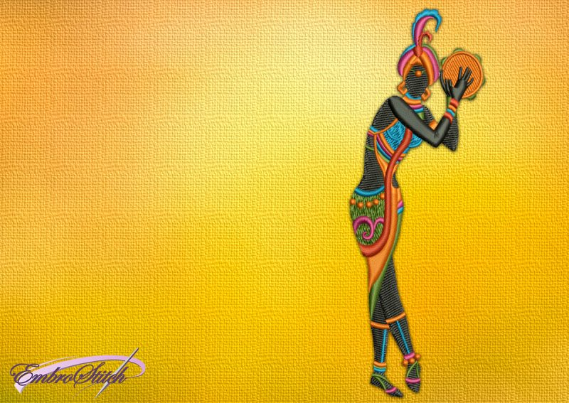 The embroidery design Woman with a Tambourine, who dances for her beloved one.