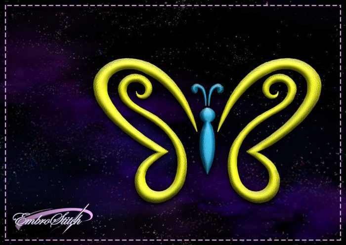 The embroidery design Yellow-blue butterfly