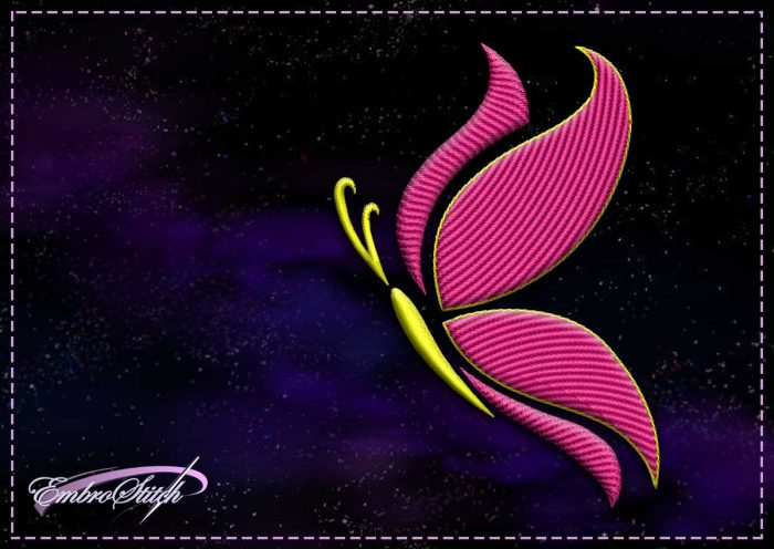 The embroidery design Yellow-pink butterfly