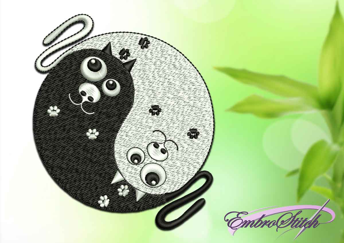 The embroidery design depicts Yin Yang with cats