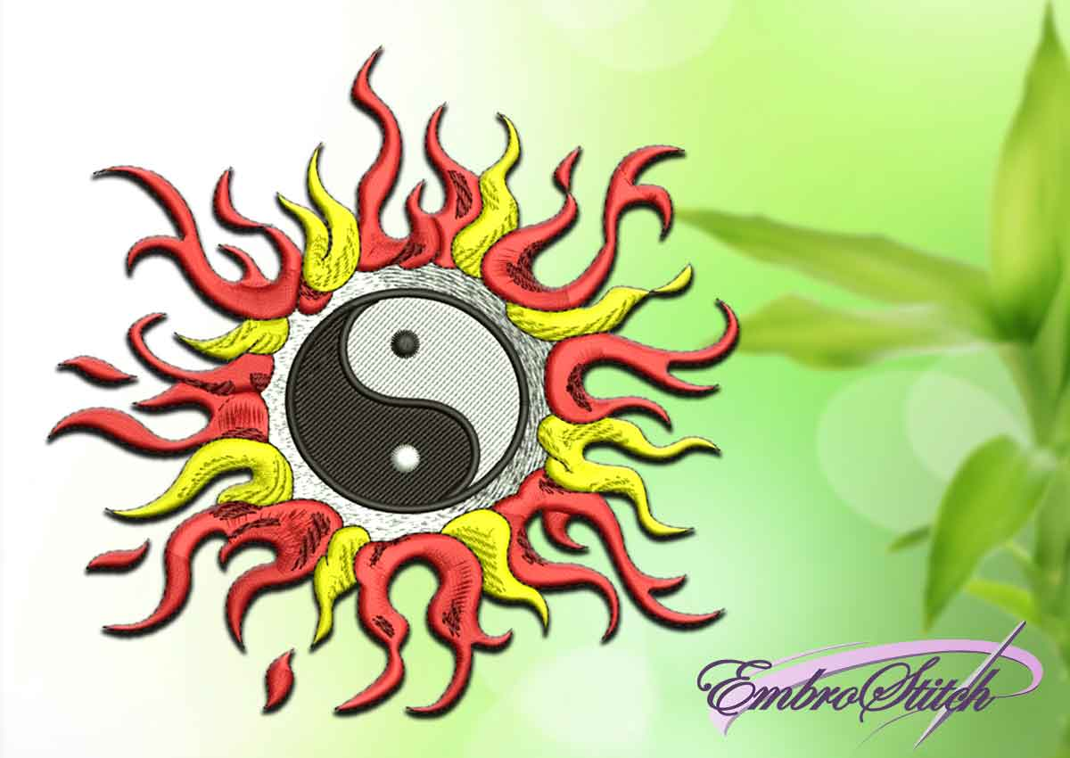 The embroidery design depicts Yin Yang in the glow of the fire