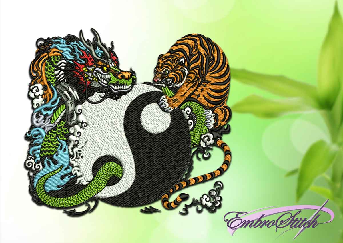 The embroidery design depicts Yin Yang with Tiger and Dragon.