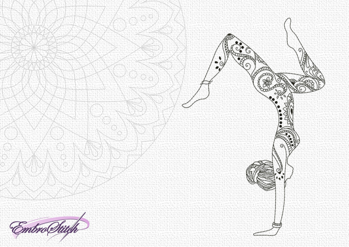 The embroidery design Yoga girl in Handstand Pose will nicely decorate blankets, pillows and other stuff.