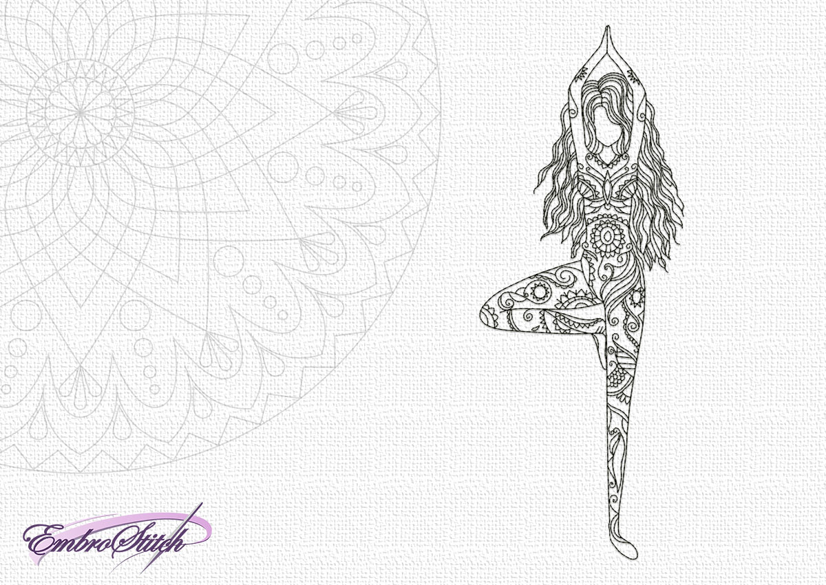 The embroidery design Yoga girl in Vrksasana will perfectly fit to all lovers of yoga area.