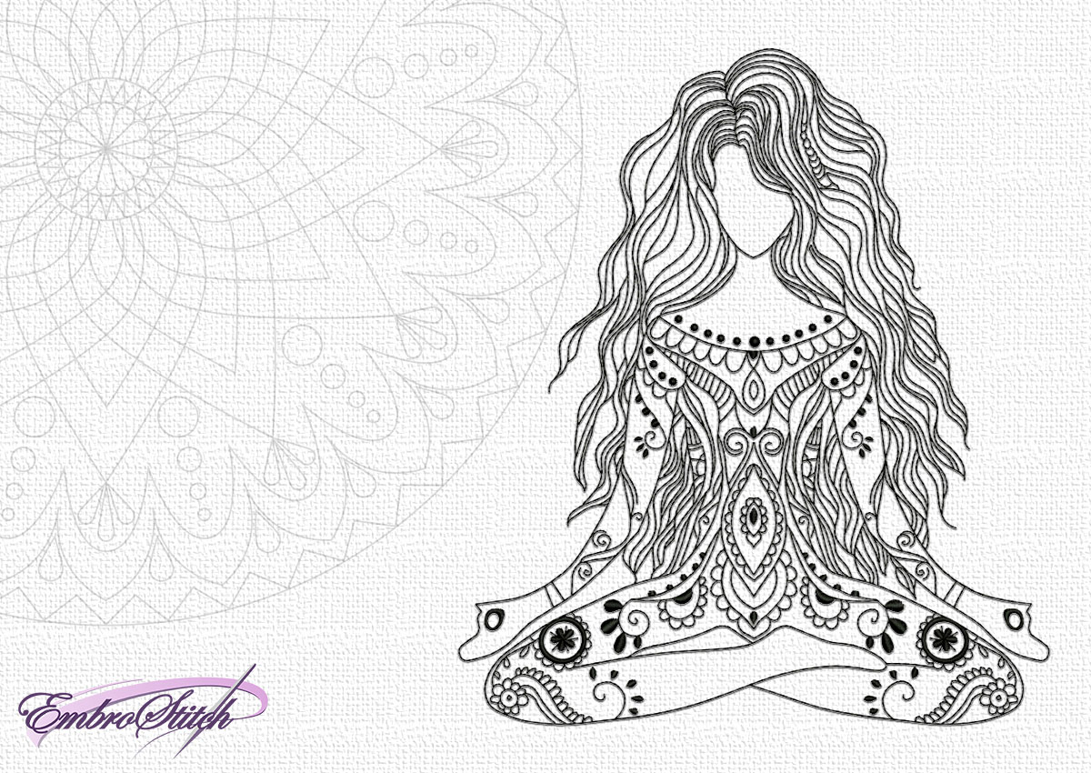 The embroidery design Yoga girl in meditation will be beautiful decoration for any clothes.