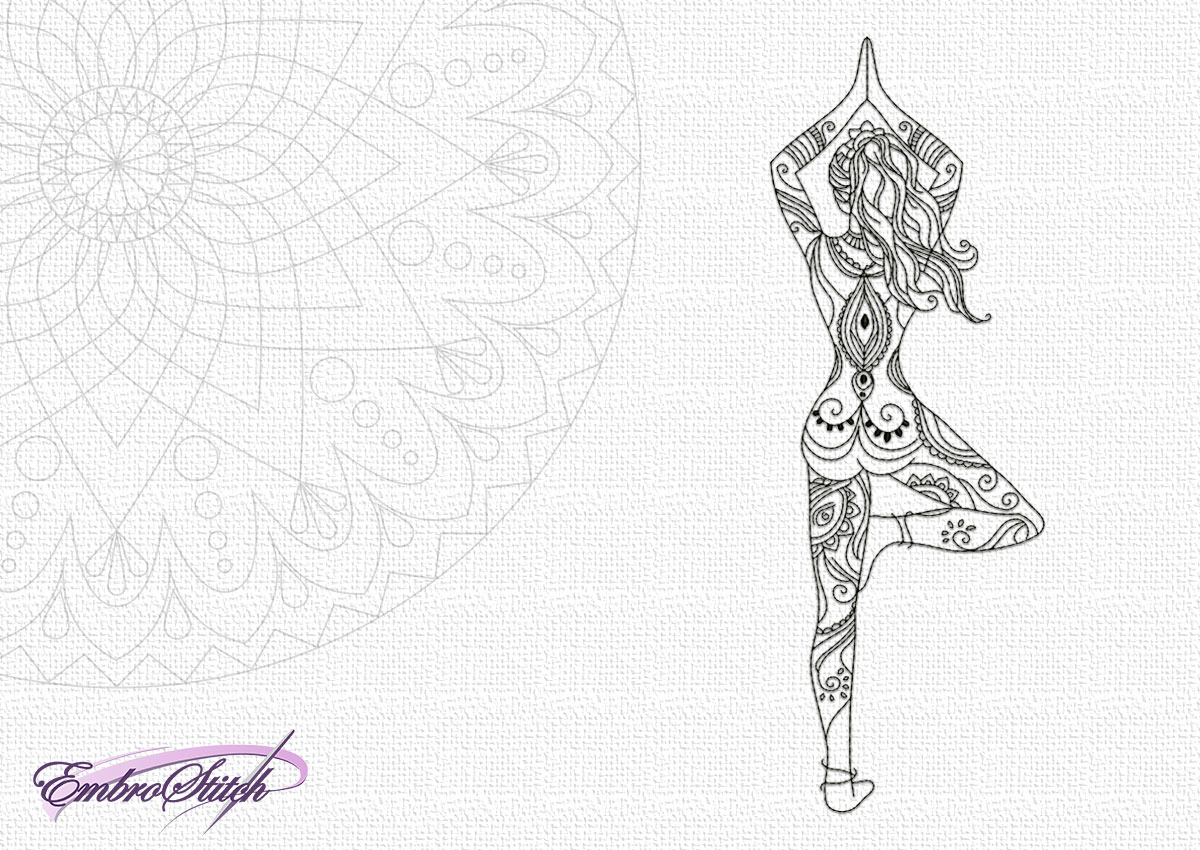 The high quality embroidery design Yoga girl in pose of tree is showing you famous yoga asana.