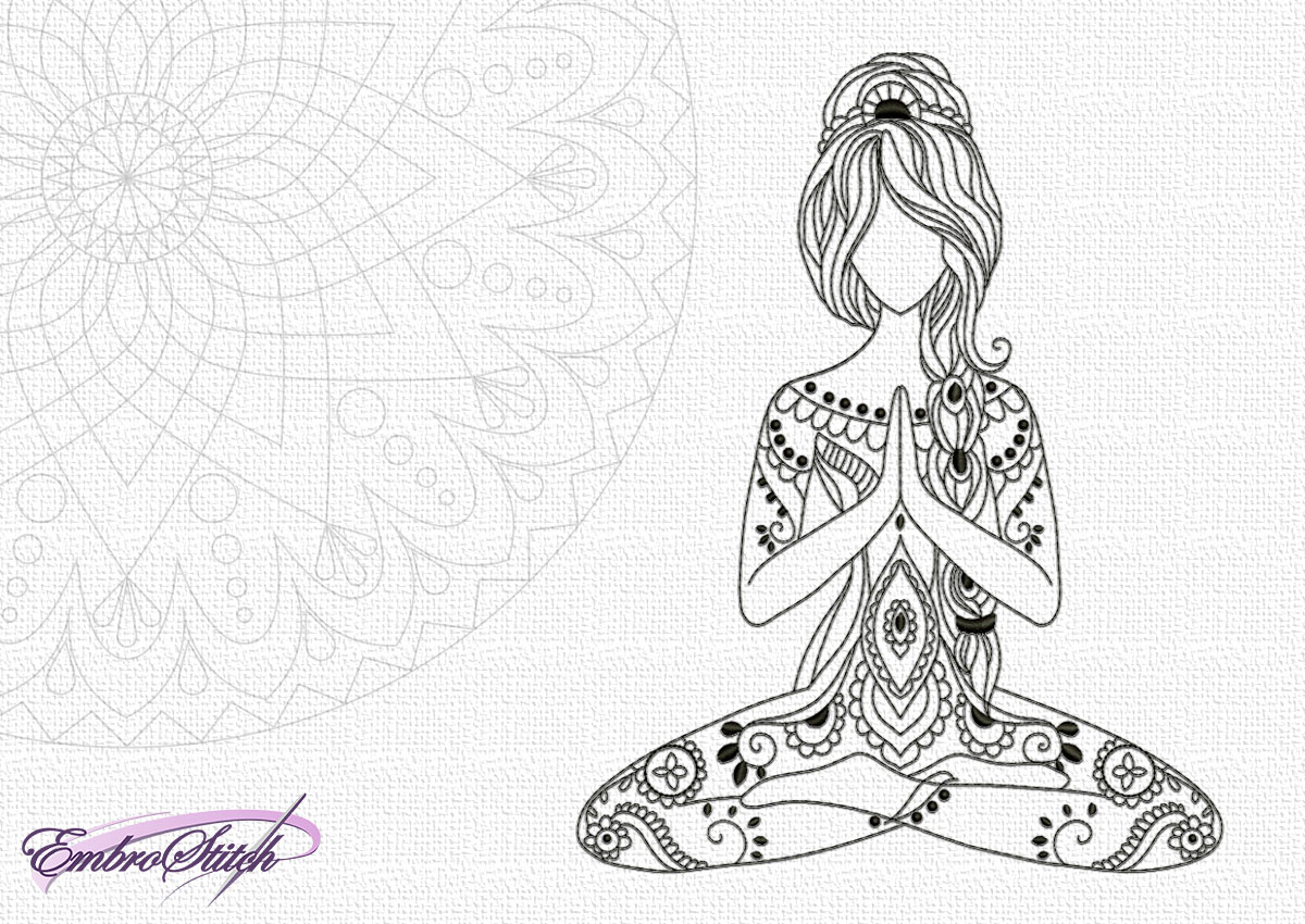 The embroidery design Peaceful yoga girl is showing harmony. You can embroider on any types of fabric.