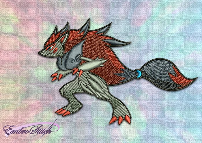 The embroidery design Zoroark Pokemon will fit all pokemon's lovers